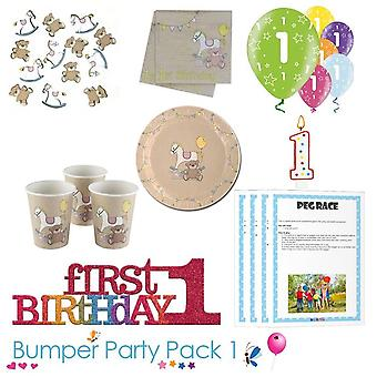 Rock A Bye 1st Birthday Party Tableware Bumper Pack 1