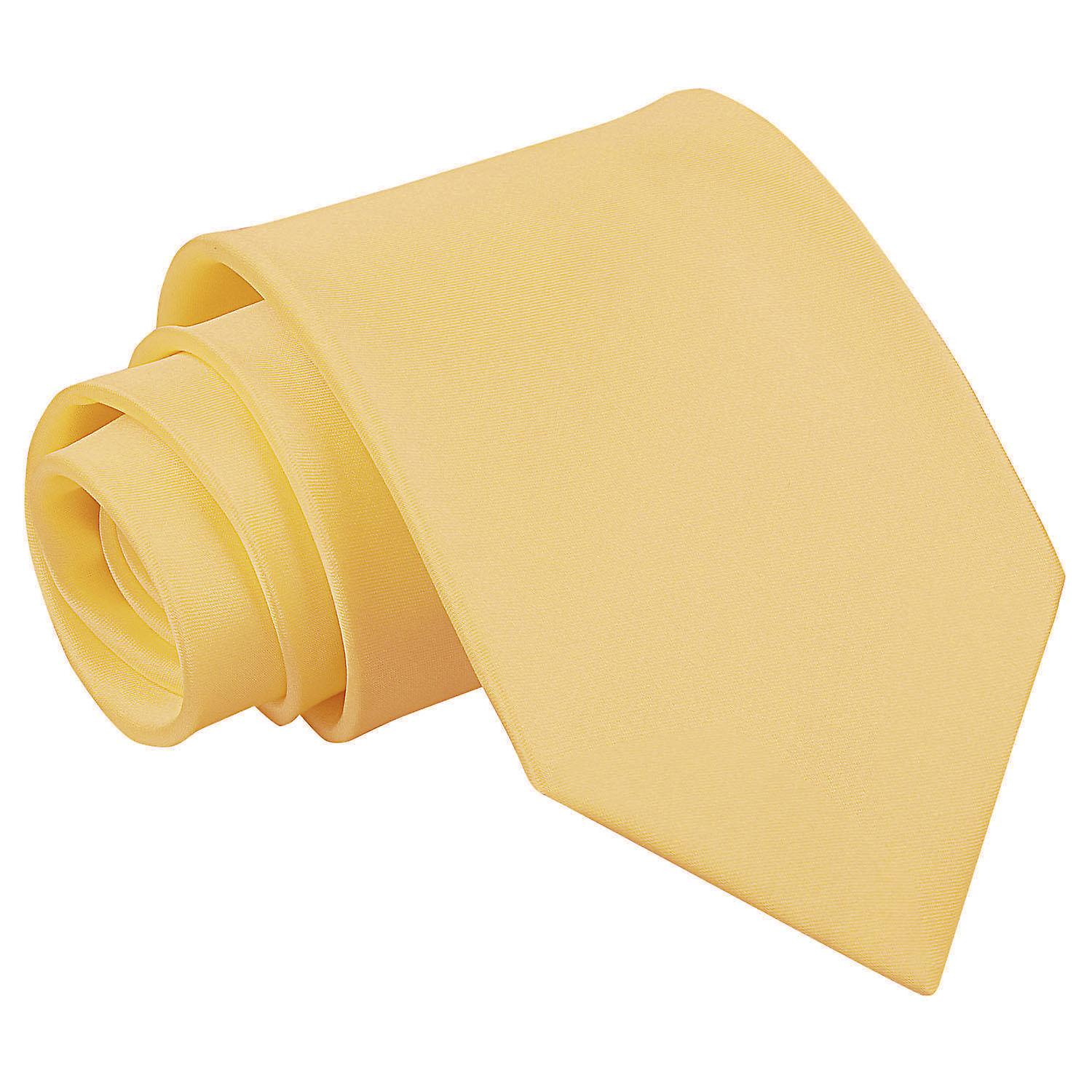 Pale Yellow Plain Satin Extra Long Tie