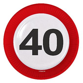 Party plate traffic sign number 40 birthday plates 8 PCs paper plates party