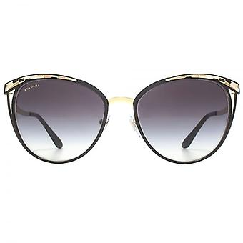 Bvlgari Snake Effect Cateye Sunglasses In Black Gold