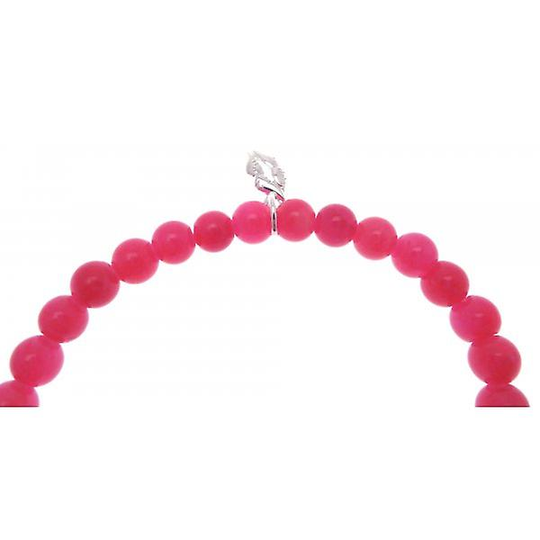 W.A.T 925 Sterling Silver 'I Solemnly Swear That I'm Up To No Good' Hot Pink Jade Quote Bracelet