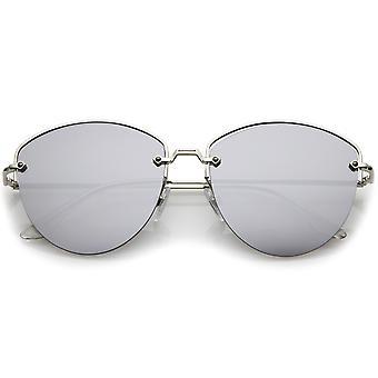 Modern Metal Nose Bridge Mirrored Flat Lens Semi-Rimless Sunglasses 60mm