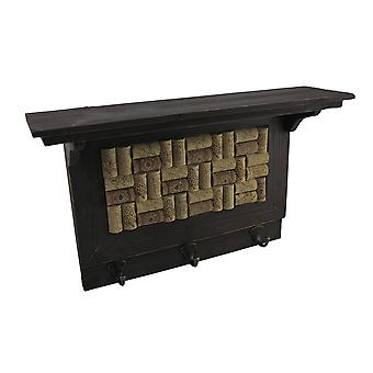 Wooden Wine Cork Board Wall Hook Shelf