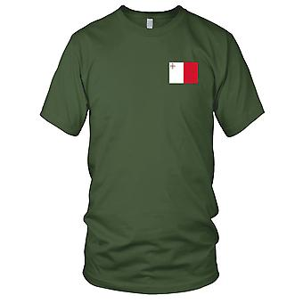 Malta Country National Flag - Embroidered Logo - 100% Cotton T-Shirt Mens T Shirt