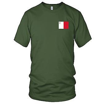 Nationale vlag van Malta land - geborduurd Logo - 100% katoen T-Shirt heren T Shirt