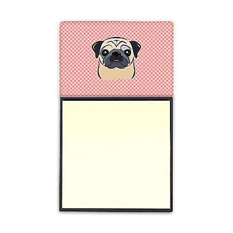 Checkerboard Pink Fawn Pug Refiillable Sticky Note Holder or Postit Note Dispens