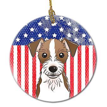 Ornamento in ceramica bandiera e Jack Russell Terrier americano