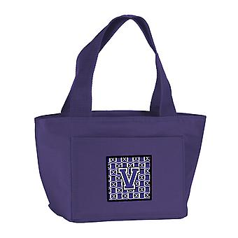 Letra V fútbol púrpura y blanco bolsa de almuerzo