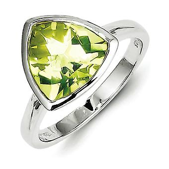 Sterling Silver Lemon Quartz Ring - Ring Size: 6 to 9