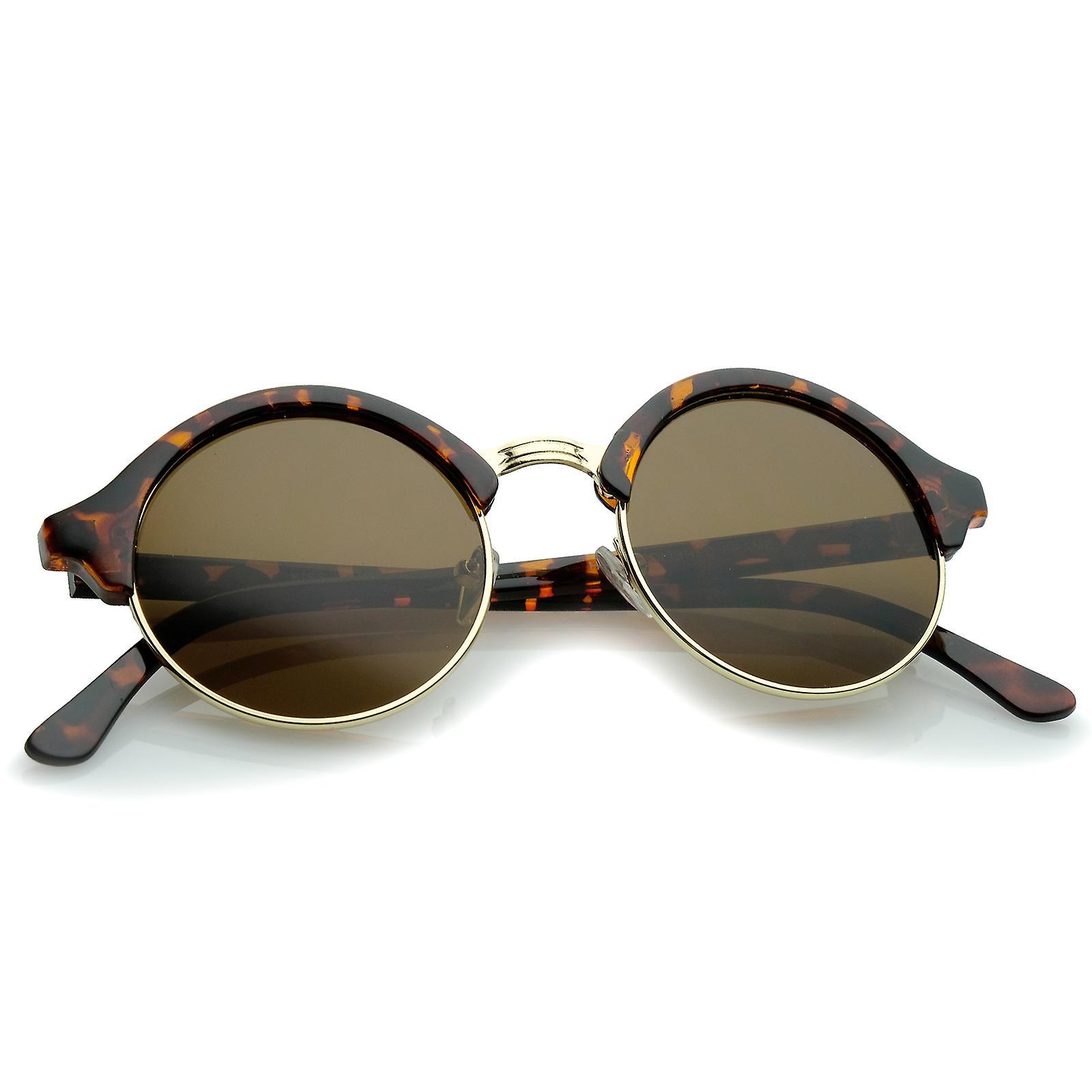 Classic Semi-Rimless Metal Nose Bridge P3 Round Sunglasses 47mm