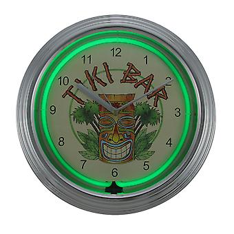 Tiki Bar 14 3/4 Inch Diameter Neon Wall Clock Home Bar