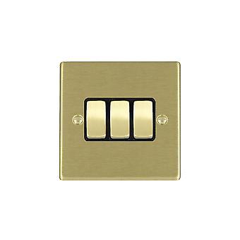 Hamilton Litestat Hartland ottone satinato 3G 10AX 2 vie Rocker SB/BL