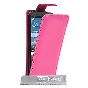 HTC M9 læder-effekt Flip Case - Hot Pink