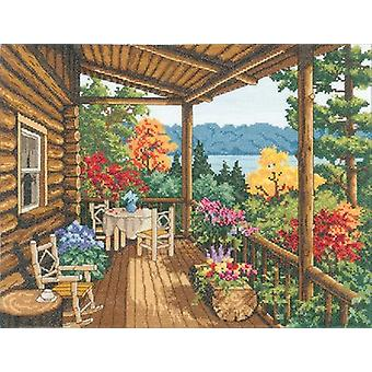 Log Cabin Covered Porch Counted Cross Stitch Kit-16