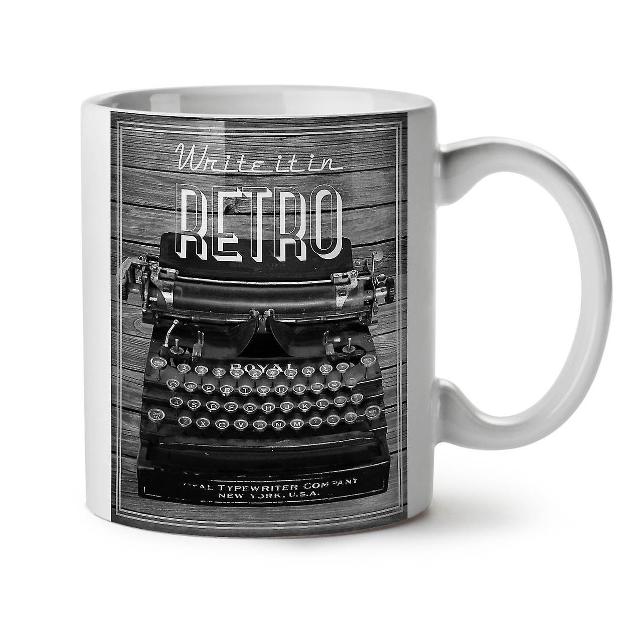 Café Vintage Écrire À Thé Retro Nouveau Tasse Machine 11 OzWellcoda Blanc Céramique OXukTlwPZi