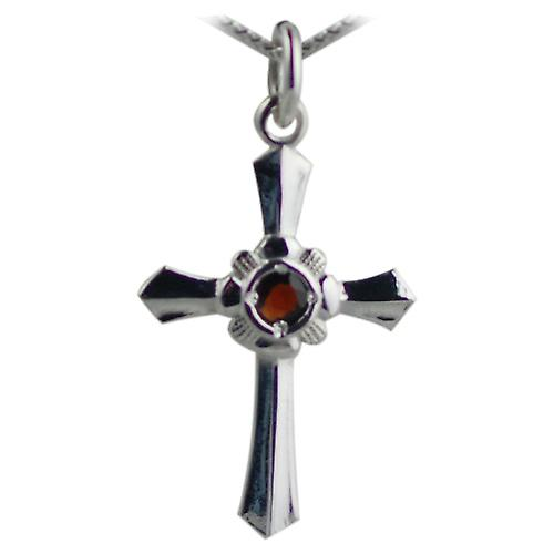Silver 25x18 Garnet set Cross with Curb chain