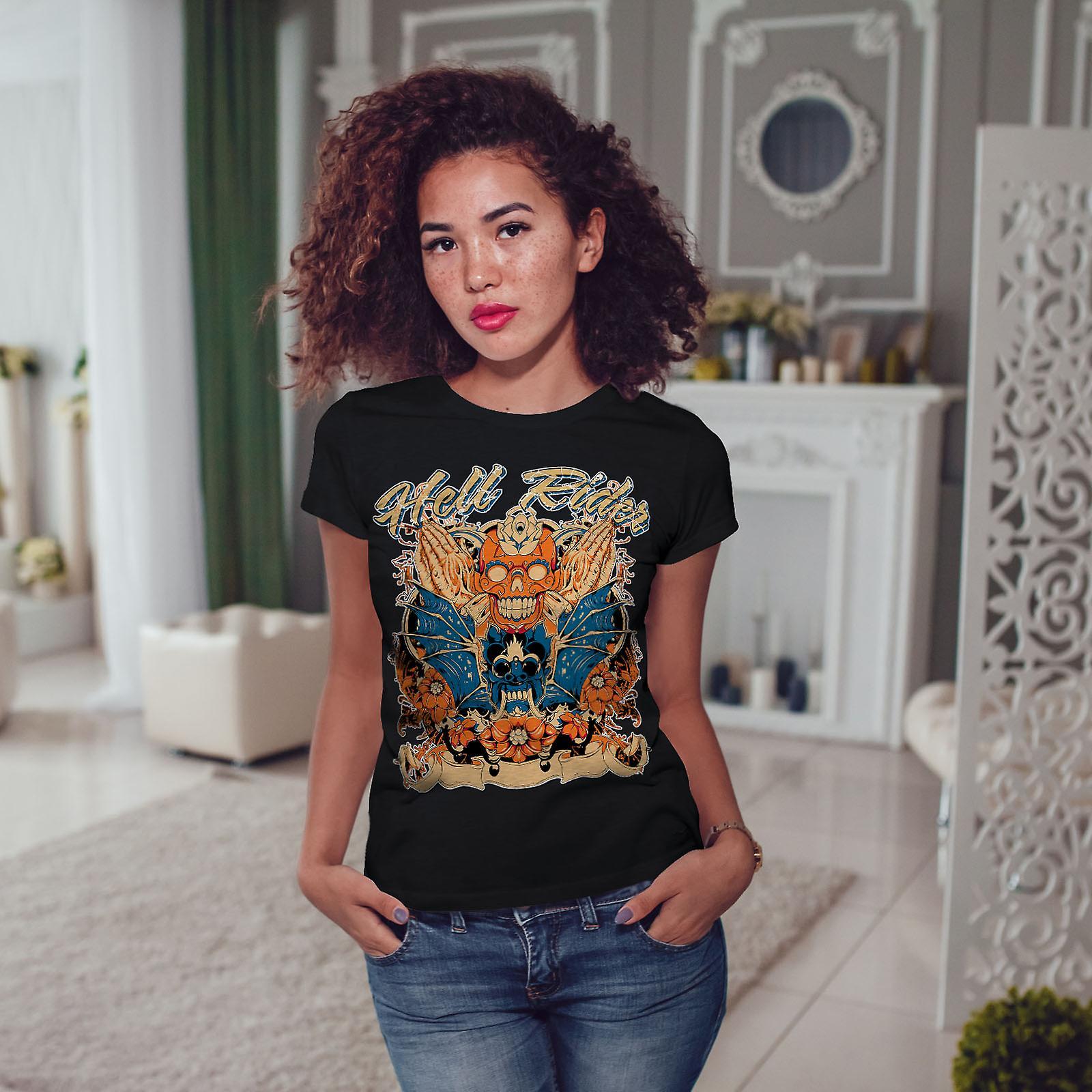 Hell Rider Rose Biker mujeres BlackT-camisa | Wellcoda