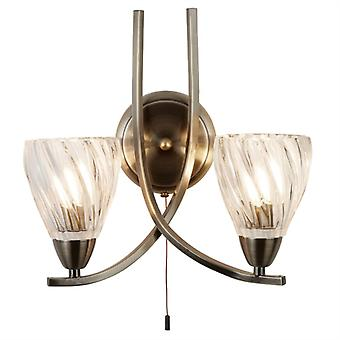 Ascona Ii Antique Brass And Glass Double Wall Light - Searchlight 5272-2ab