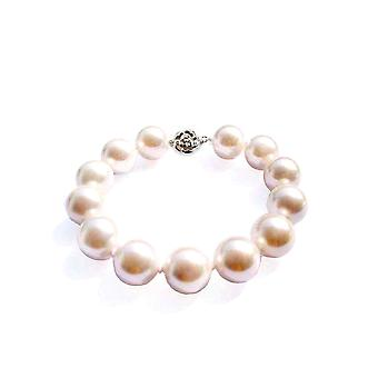 White cultured pearls and clasp 925 Silver Flower bracelet