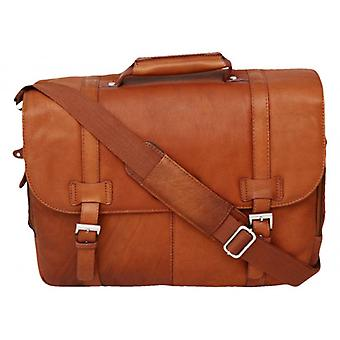 Cortez Laptop Briefcase - Cognac Brown