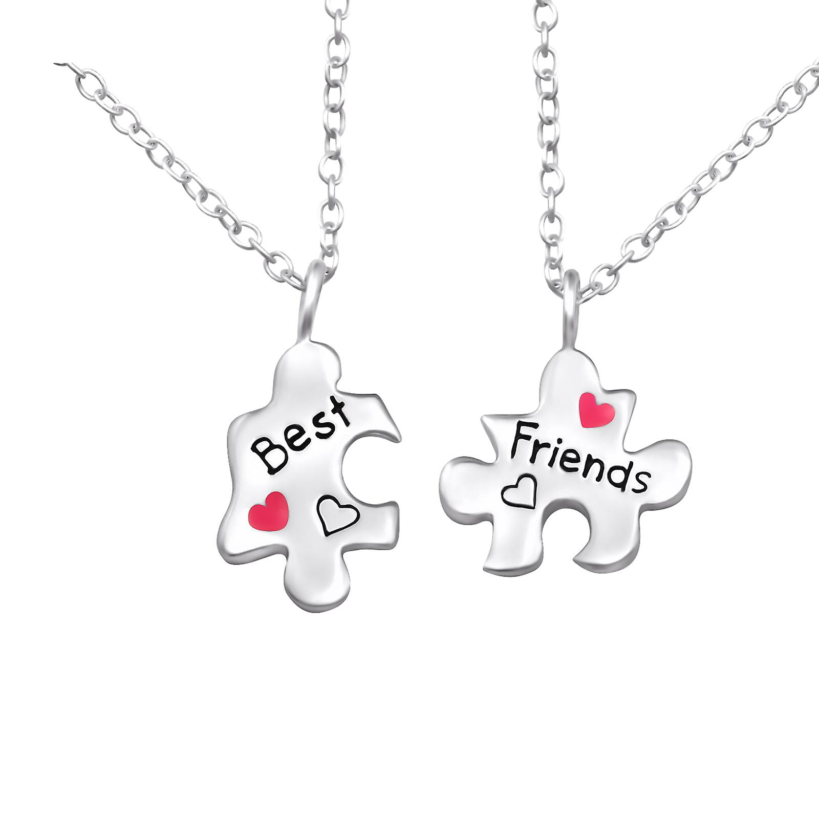 Bff Puzzle Best Friends - 925 Sterling Silver Necklaces - W26391X