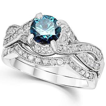 1 1 / 2ct Голубой алмаз обручальное кольцо бесконечности набор 14K Белое золото