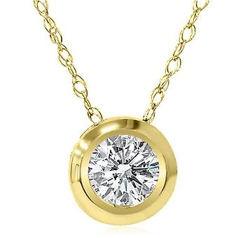 Gold 1/6ct Round Diamond Bezel Solitaire Pendant 14K