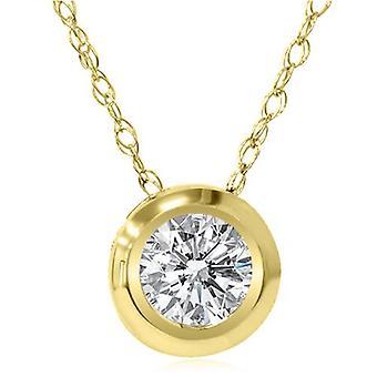 Золото 1 / 6ct круглый алмазный диск пасьянс Кулон 14K