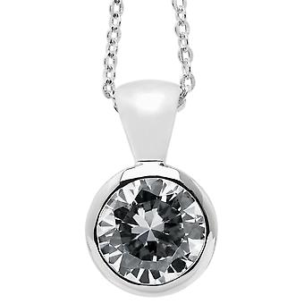 Burgmeister chain and pendant JBM1009-321, 925 sterling silver rhodanized, white zirconia