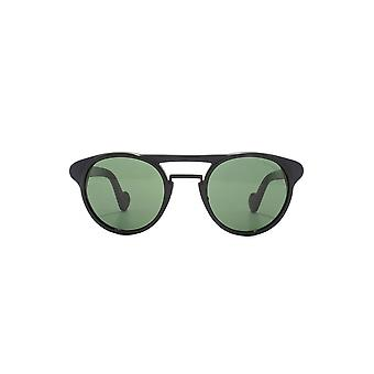 Moncler Moncler Black & Green Double Bridge Round Sunglasses