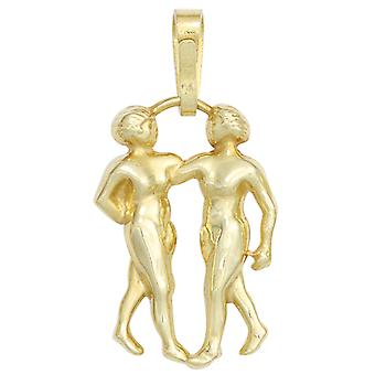 Zodiac pendant zodiac sign Gemini 333 gold yellow gold