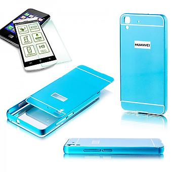 Aluminium støtfanger 2 stykke blå + 0.3 mm H9 herdet glass for Huawei Y6