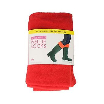 Las señoras rojo polar Rjm Wellie calcetines estilo - Sk205Cdu