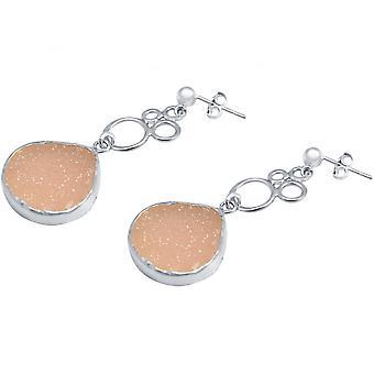 Damen - Ohrringe - BUBBLES - 925 Silber – DRUZY - Rose Quarz - 4,5 cm