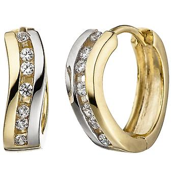 Hoops bicolor 333 gold yellow gold with cubic zirconia earrings Goldcreolen gold earrings