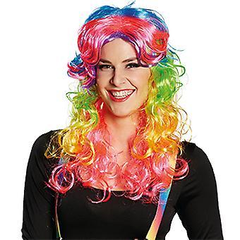 Freaky kleuren gekleurd lange pruik dames haartoebehoren carnaval Halloween
