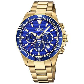 Festina Mens Gold Stainless Steel Chronograph Blue Dial F20364/2 Watch