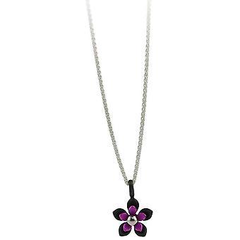 TI2 titane noir dos cinq pétale fleur pendentif - rose bonbon