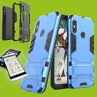 Für Samsung Galaxy A7 A750F 2018 Metal Style Hybrid Case TPU Silikon Hellblau + 0,26 mm 2.5D H9 Hartglas Tasche Hülle Cover Hülle