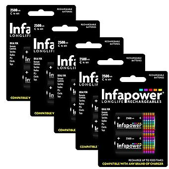 10 x Infapower B005 Rechargeable C Ni-MH Batteries 2500mAh