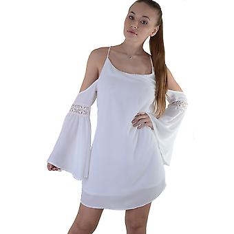 Lovemystyle Cold Shoulder White Dress With Underlay - SAMPLE