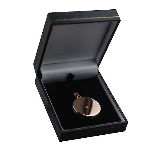 9ct Rose Gold 29mm half hand engraved flat round Locket