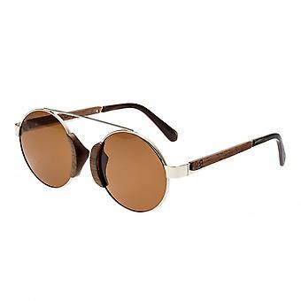 Erde Holz Talisay polarisierte Sonnenbrille - Silber/braun