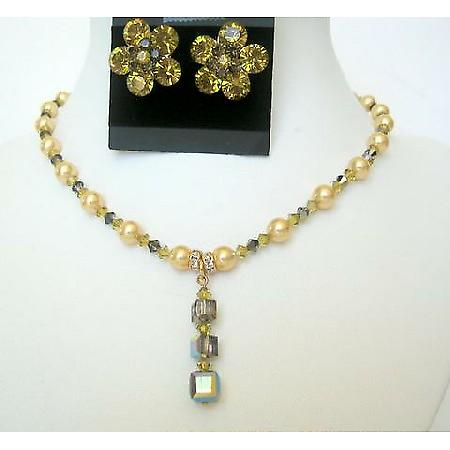 Wedding Bridal Custom Jewelry Lime Pearls & Lime Crystals Necklace Set