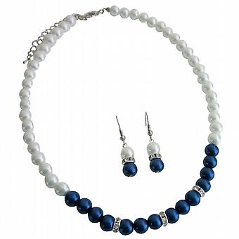 Admirable Bridesmaid Jewelry Dark Blue Pearls w/ White Pearls
