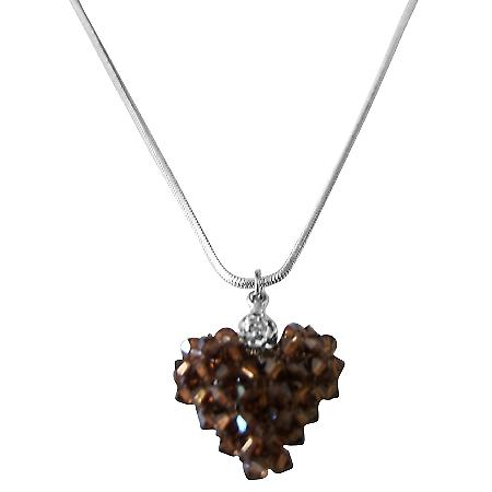 Valentine Love Smoked Topaz Crystals 3D Puffy Heart Pendant Necklace