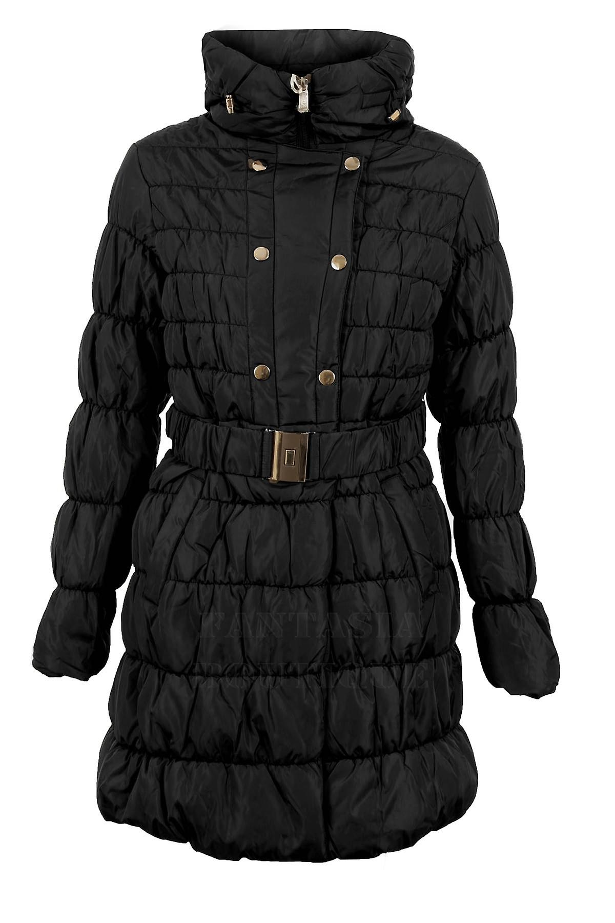 Ladies Long Sleeve Popper Zip Padded Quilted Bubble Women's Jacket Winter Coat