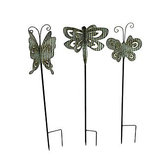 Corrugated Metal 3D Butterfly Garden Stakes Set of 3