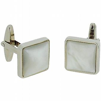 Artamis Gents Rhodium Plated Mother Of Pearl Square Cufflinks