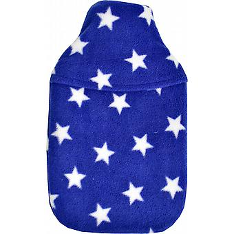Cosy Fleece 2L Hot Water Bottle & Cover: Royal Blue Stars